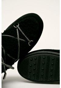Czarne śniegowce Moon Boot na sznurówki, na obcasie, na średnim obcasie, z cholewką #4
