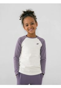 4f - Longsleeve gładki dziewczęcy. Kolor: fioletowy. Materiał: bawełna, dzianina. Długość rękawa: długi rękaw. Wzór: gładki