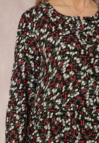 Renee - Czarna Sukienka Feanyore. Kolor: czarny. Wzór: kwiaty, kolorowy. Długość: maxi