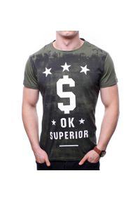 Zielony t-shirt z nadrukiem Recea z krótkim rękawem, klasyczny, na co dzień