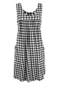 Sukienka z dżerseju z kieszeniami, wzorzysta bonprix czarno-biały w kratę. Kolor: czarny. Materiał: jersey. Długość rękawa: na ramiączkach