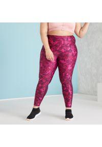 DOMYOS - Legginsy fitness damskie Domyos. Stan: podwyższony. Kolor: wielokolorowy, czerwony, fioletowy. Materiał: poliester, elastan, materiał. Sport: fitness