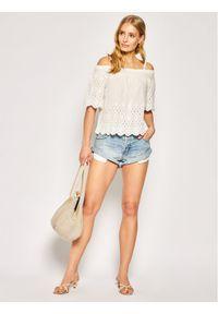 Pepe Jeans Bluzka Luna PL303696 Biały Regular Fit. Kolor: biały