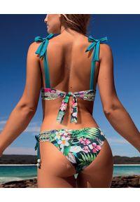 DEL MAAR - Dół od bikini w kwiaty. Kolor: niebieski. Materiał: materiał. Wzór: kwiaty