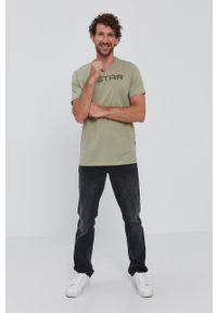 G-Star RAW - G-Star Raw - T-shirt. Okazja: na co dzień. Kolor: zielony. Materiał: bawełna, dzianina. Wzór: aplikacja. Styl: casual