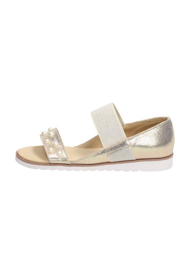 Złote sandały Filippo na obcasie, klasyczne, na średnim obcasie
