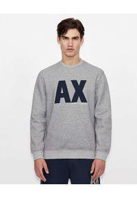 Armani Exchange - ARMANI EXCHANGE - Szara bluza z granatowym logo. Kolor: szary. Materiał: materiał. Długość rękawa: długi rękaw. Długość: długie