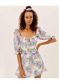 For Love & Lemons - FOR LOVE & LEMONS - Sukienka z kwiatowym nadrukiem Imogen. Typ kołnierza: dekolt kwadratowy. Kolor: różowy, wielokolorowy, fioletowy. Materiał: poliester. Wzór: kwiaty, nadruk. Długość: mini