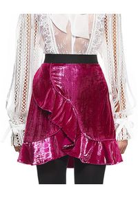 SELF PORTRAIT - Spódnica Metallic Velvet. Kolor: wielokolorowy, różowy, fioletowy. Materiał: poliester. Wzór: aplikacja