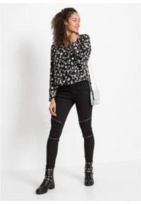 Czarna bluzka bonprix w kropki, z długim rękawem
