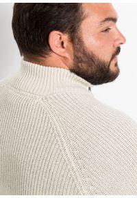 Beżowy sweter bonprix ze stójką, melanż, długi