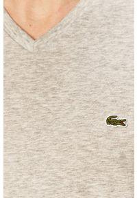 Szary t-shirt Lacoste casualowy, na co dzień
