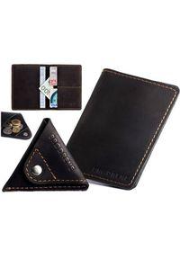 Skórzany zestaw portfel i bilonówka BRODRENE SW01 + CW01 czarny. Kolor: czarny. Materiał: skóra