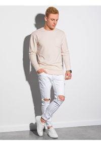 Ombre Clothing - Bluza męska bez kaptura B1149 - ecru - XXL. Typ kołnierza: bez kaptura. Materiał: jeans, poliester, materiał, bawełna. Wzór: melanż