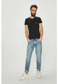 Emporio Armani Underwear - Emporio Armani - T-shirt. Kolor: czarny. Materiał: dzianina