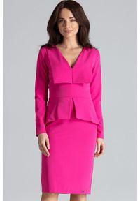 Sukienka do pracy, w geometryczne wzory, wizytowa
