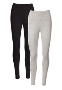 Legginsy ze stretchem (2 pary w opak.) bonprix jasnoszary melanż + czarny. Kolor: szary. Materiał: bawełna. Wzór: melanż