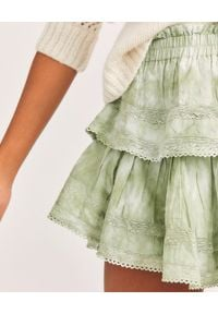 LOVE SHACK FANCY - Zielona mini spódnica Ruffle. Kolor: zielony. Materiał: bawełna, koronka. Wzór: koronka