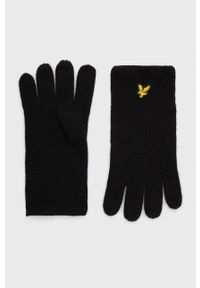 Lyle & Scott - Rękawiczki. Kolor: czarny. Materiał: dzianina. Wzór: gładki