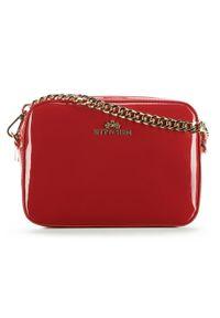 Czerwona listonoszka Wittchen w kolorowe wzory, elegancka, lakierowana