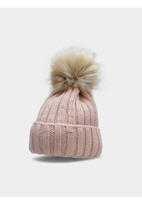 4f - Czapka zimowa ocieplana dziewczęca. Kolor: różowy. Materiał: futro. Sezon: zima