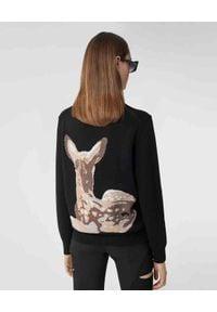 Burberry - BURBERRY - Wełniany sweter z jelonkiem. Kolor: czarny. Materiał: wełna. Długość rękawa: długi rękaw. Długość: długie. Wzór: nadruk, aplikacja