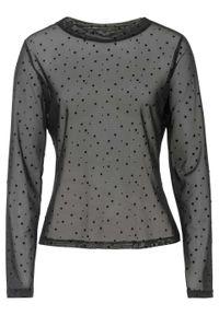 Czarna bluzka bonprix długa, z nadrukiem