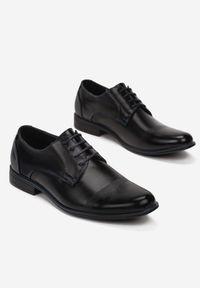 Born2be - Czarno-Niebieskie Półbuty Aethimia. Nosek buta: okrągły. Zapięcie: sznurówki. Kolor: czarny. Materiał: skóra. Szerokość cholewki: normalna. Obcas: na obcasie. Styl: klasyczny. Wysokość obcasa: niski