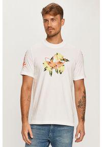 Biały t-shirt adidas Originals z nadrukiem, z okrągłym kołnierzem, na co dzień