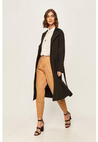 Czarny płaszcz ANSWEAR bez kaptura, na co dzień, klasyczny