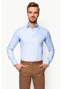 Niebieska koszula Lancerto elegancka, z haftami