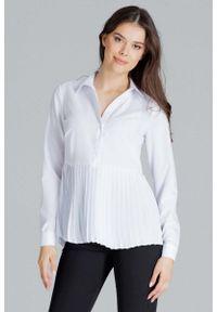 Figl - Biała Koszulowa Bluzka z Plisowanym Dołem. Kolor: biały. Materiał: elastan, poliester