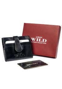 ALWAYS WILD - Etui na karty czarne Always Wild N006-VTK-N-RFID-4688. Kolor: czarny. Materiał: skóra