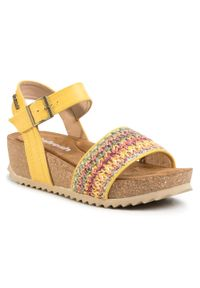 Żółte sandały Refresh casualowe, na co dzień