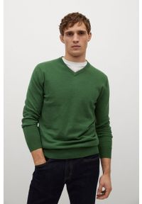 Zielony sweter Mango Man na co dzień, z długim rękawem, długi