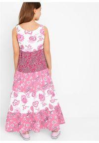 Letnia sukienka dziewczęca bonprix biel wełny - jeżynowo-czerwony. Kolor: biały. Materiał: wełna. Sezon: lato #5