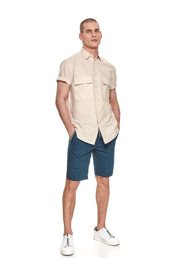 TOP SECRET - Koszula z lnem. Okazja: na co dzień. Kolor: beżowy. Materiał: len. Długość rękawa: krótki rękaw. Długość: krótkie. Sezon: lato. Styl: wakacyjny, casual