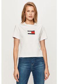 Biała bluzka Tommy Jeans na co dzień, casualowa, z nadrukiem
