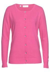 Sweter rozpinany bonprix różowy. Kolor: różowy. Styl: elegancki