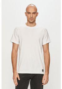 Dr. Denim - T-shirt. Okazja: na co dzień. Kolor: biały. Materiał: denim. Styl: casual