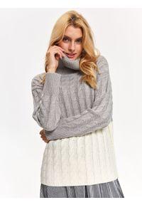 Szary sweter TROLL casualowy, na jesień, na co dzień, z golfem