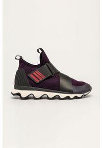 Fioletowe buty sportowe sorel na rzepy, na obcasie