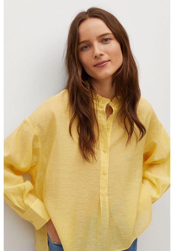 Żółta bluzka mango krótka, ze stójką, gładkie