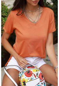 Pomarańczowy top IVET w kolorowe wzory