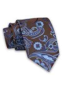 Brązowo-Niebieski Męski Krawat -Chattier- 7,5cm, Klasyczny, Elegancki, w Kwiatki, Motyw Florystyczny. Kolor: niebieski, beżowy, brązowy, wielokolorowy. Materiał: tkanina. Wzór: kwiaty. Styl: klasyczny, elegancki