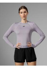 4f - Longsleeve do biegania damski. Kolor: fioletowy. Materiał: skóra, włókno, dzianina. Długość rękawa: długi rękaw. Sport: fitness, bieganie
