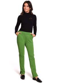 MOE - Limonkowe Dzianinowe Spodnie na Gumie z Rozciętymi Nogawkami. Materiał: dzianina, guma