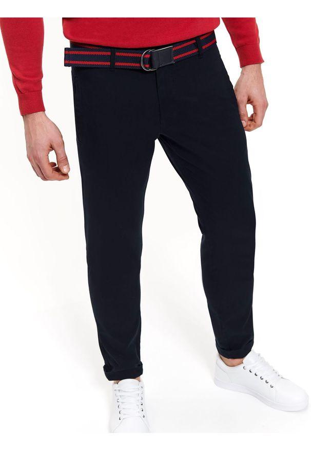 Niebieskie spodnie TOP SECRET w kolorowe wzory, na lato