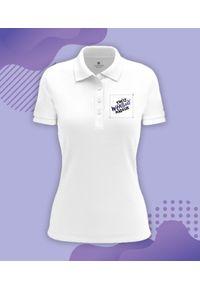 MegaKoszulki - Koszulka polo damska z własnym nadrukiem. Typ kołnierza: polo. Wzór: nadruk