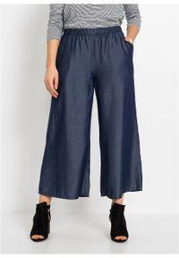 Spodnie culotte TENCEL™ Lyocell bonprix ciemny denim. Kolor: niebieski. Materiał: lyocell, denim